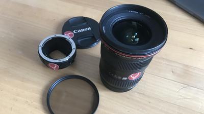 Canon EF 16-35mm f/2.8L II USM Objektiv mit E-Mount Adapter