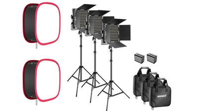 3x 660 LED-Panel mit Akkus, Ladegerät und Softbox (Neewer)