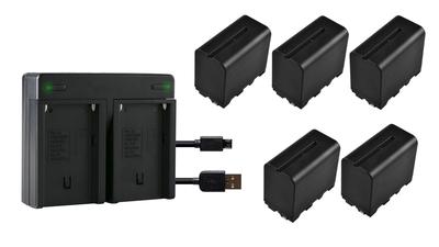 Sony NP-F Akku-Set (5x Akku) + Dual-Ladegerät